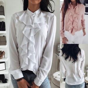 Women Ladies Casual Lapel Ruffle Tops Blouse Tops Long Sleeves Loose Shirt Tops