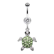 Under the Sea Turtle Belly Navel Button Ring Clear 14G