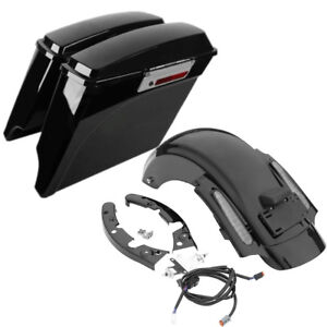 """5"""" Stretched Saddlebags & Rear Fender Fit For Harley CVO Touring Road King 09-13"""