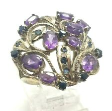 Ornate Amethyst Sapphire  Sterling Silver 925 Ring 9g Sz.7.25 KWD148