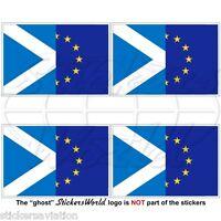 "EUROPE-SCOTLAND Flag, EU-SCO European Union-Scottish 50mm(2"") Stickers Decals x4"