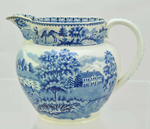 Antique Staffordshire Blue Transfer Fox Hunting 5 Inch Jug Pitcher c 1810 As Is