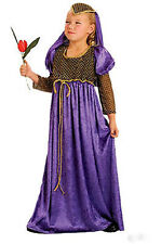 Girls Anglo Saxon Tudor Costume Purple Juliet Medieval Dress Book Outfit 6-9 New