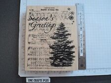 CHRISTMAS NOEL~SEASONS GREETINGS   LARGE RUBBER STAMP by RECOLLECTIONS