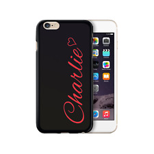 Personalised Initial Phone Case, Red Heart Name on Black TPU Soft Phone Cover