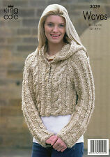 """~ King Cole Knitting Pattern For Lady's Cabled Jacket & Hooded Top ~ 32"""" ~ 44"""" ~"""