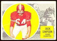 1960 TOPPS CFL FOOTBALL #47 JACK SIMPSON EX MONTREAL ALOUETTES RAIDERS BRONCOS