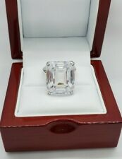 Huge 15.00 carat Emerald Cut White CZ Engagement Ring 925 Sterling Silver