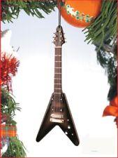 "Miniature 5"" Black Electric Flying V-Guitar Hanging Tree Ornament"