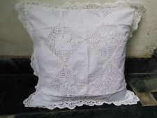 """Linen Lace Cushion Cover Handmade in size 22"""" x 22"""" in white color"""