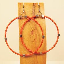 "2"" Orange Bohemian Handmade Seed Bead Hoop Faux Silver Beads Roxie Earring"