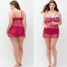 Lane Bryant Cacique Sexy Pink Fishnet Lace Camidoll Babydoll