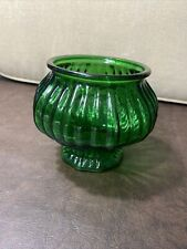 Vintage emerald / forest green glass flower Pot Container