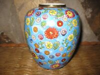 Faux Cloisonne Asian Ginger Jar Polychrome Small Floral Flowers Gilt Tim HP'd