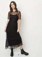 George Bnwt Black Spotted Mesh Overlay & Slip Tiered Party Midi Dress Size 18