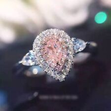 Engagement Ring in 14K White Gold 3.10Ct Baby Pink Pear Beautiful Diamond Halo