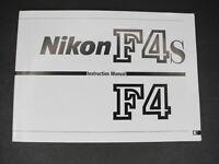 #3 Nikon F4 / F4s SLR Camera Instruction Book / Manual / User Guide