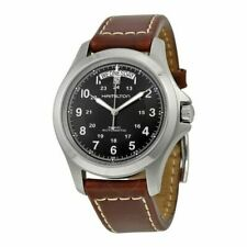 Hamilton Khaki Field Black Men Watch with Brown Leather Band - H64455533