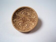 3pcs RARE LARGE FANCY LASERED DESIGN WOOD LOOK RESIN ITALIAN BUTTONS 23mm