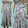 Vintage 80s Gray silver Floral Shiny embossed Cocktail Evening Party Dress Sz S