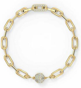 SWAROVSKI Authentic The Elements Chain Bracelet, White, Gold Plated, Large