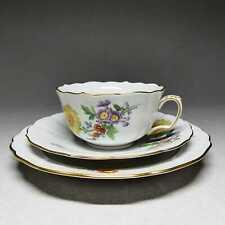 Meissen Blume 3 - Teegedeck, 3-teilig Teetasse Kuchenteller Untertasse #B666