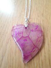 Pink dragon veins pendant necklace natural stone gemstone gift boho ethnic