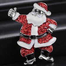 Fashion Crystal Rhinestone Santa Claus Brooch Pin Wedding Christmas Jewellery