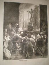 Franco Prussian war before leaving for war a scene in Brittany 1870 print ref Z3