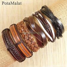 PotaMalat Handmade 6pcs Brown Genuine Leather Multilayer Bracelet For Men-D53