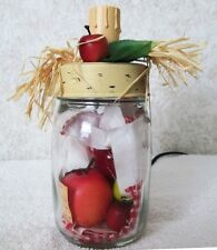 Apple Lamp Candle Distressed Jar w/On Off Switch Recipe Card 28980 Home Decor