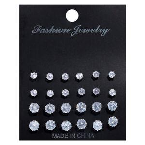 12Pairs Crystal Zircon Rhinestone Earrings Sets Women Girl Ear Stud Jewelry Gift