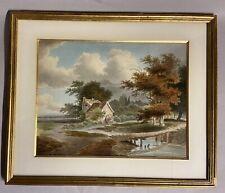 Paysage au moulin près de la rivière. Aquarelle 19 eme. A voir