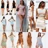 Womens Short Sleeve Bodycon Mini Dress Ruched Side Drawstring Ribbed Clubwear