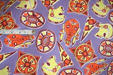 Novelty African art red Indian masks brown print 100% cotton purple fabric 5mtrs