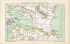 Karte PANAMAKANAL / NICARAGUA-KANAL 1894 Original-Graphik