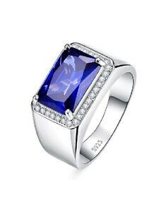 925 Sterling Silver Blue Sapphire Gemstone Men Wedding Engagement Ring Jewelry70