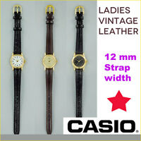 VINTAGE LADIES CASIO LEATHER STRAP WATCH, GOLD & WHITE FACE