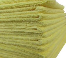 12 YELLOW MICROFIBER TOWELS POLISH, CLEANING CLOTHS