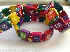 Bracelet Wristband wooden Elasticated Bright Multi Coloured Peace Stretchy