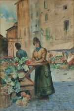 ITALY MARKET 19th C. VEGETABLE WOMAN MARKET PIAZZA WATERCOLOR SUPERB DETAIL