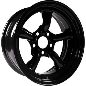 """4 x 16"""" x 8"""" Challenger 5 Spoke Black Steel Wheels ET-35"""