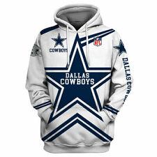Dallas Cowboys Hoodie los aficionados al fútbol con Capucha Sudadera Jersey Informal Chaqueta