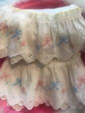 Vtgvalance 2 Pink/blue stitched Bows Eyelet Ruffle Panel Shabby Romantic Cottage
