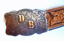 WADE'S SILVER SHOP RENO STERLING and 14K GOLD BELT BUCKLE & KEEPER OLD RODEO