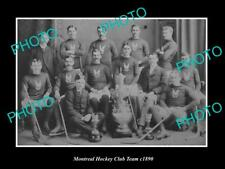 Old 6 X 4 Historic Photo Of Montreal Canada, Montreal Ice Hockey Club Team 1890
