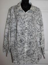 Talbots Woman 24W Wrinkle Resistant White Gray Floral Print Long Slv 3x Blouse