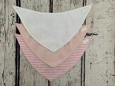 Ex Next Baby Girl Pink And White Bibs X3 Brand New
