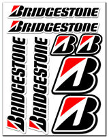 Set 8 PVC Vinyle Autocollants Bridgestone Pneus Racing Sticker Voiture Moto Auto