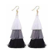 Layered Black White Tassle Tassel Earrings Dress Present Gift Ladies Girls Woman